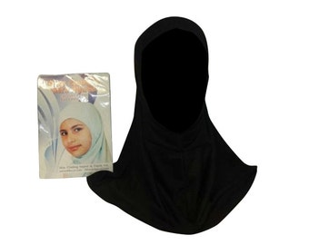 Muslim Girls Childrens islamic hijab scarf one piece ihlas kids head bonnet turkish slip on school black Childs School Head Hat Soft Lycra