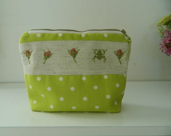 Cosmetic bag, Toiletry bag, Cosmetic pouch, Travel cosmetic bag, Zippered pouch, Embroidered pouch, Hemmed purse