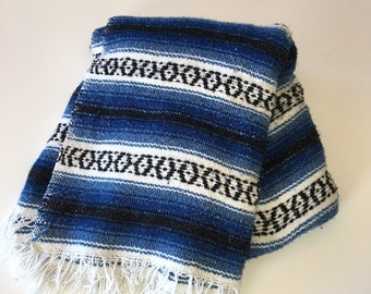 Vintage Mexican Blanket Southwest Blue Throw