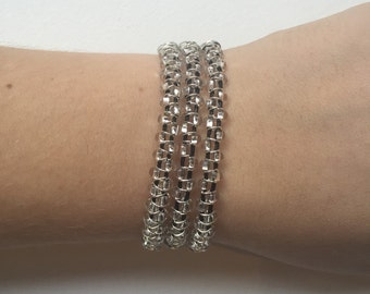 Clear and black leather beaded wrap bracelet