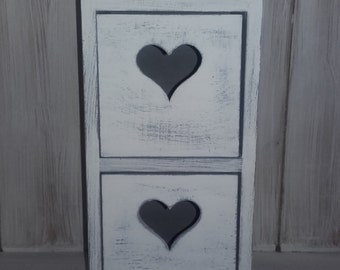 Hand painted wooden chest of drawers,box, shabby chic,wooden white and grey,distressed.