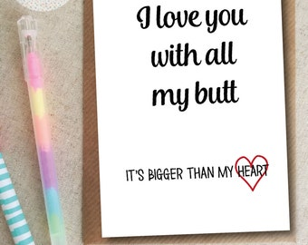 Funny Boyfriend Birthday Card - Big Butt