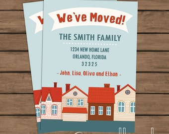 Moving Announcement - Printable - We've Moved - I've Moved - Our First Home - New Address - Change of Address Card - Houses