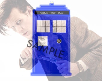 Doctor Who Eleventh Doctor and the TARDIS Digital Drawing Matt Smith