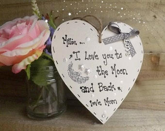 Personalised I love you to the moon and back plaque heart handmade gift