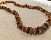 Arthritis Carpal Tunnel Sciatica Pain Baltic Amber necklace Raw Unpolished Lemon, Honey, Cognac, Multi, or Black Cherry 18 In Necklace Adult