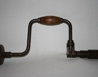 Vintage Hand Drill Heavy Duty Steel Wood Handles Retro Carpentry Woodworking