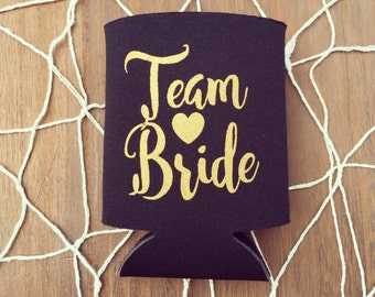 Bachelorette Party Drink Coolers | Black + Gold Team Bride Drink Cooler Favors, Bachelorette Party Beer Bottle Can Holders, Bridesmaid Gifts