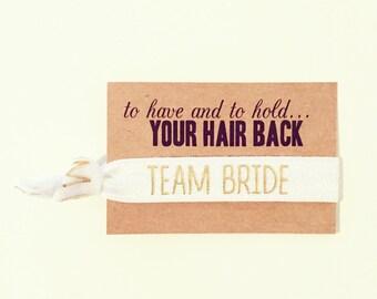Team Bride Hair Tie Favors | White + Gold Bachelorette Party Hair Tie Favors, White + Gold Hair Tie Favor, Team Bride Bachelorette Hair Ties