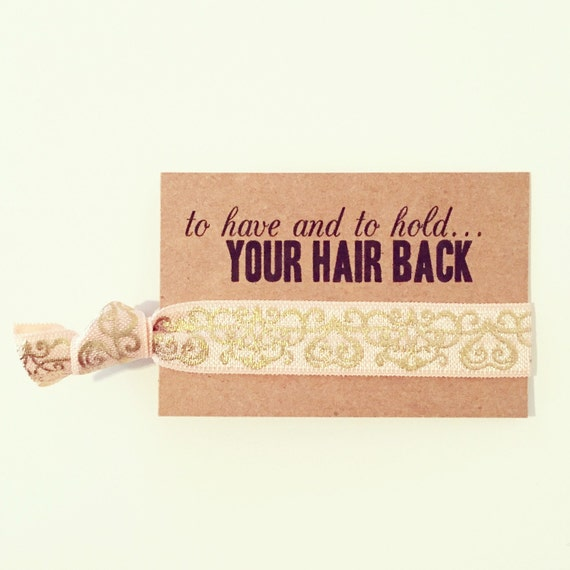 SALE Rose Gold Bridal Shower Favor | Peach + Gold Hair Tie Favors, Wedding Shower Hair Tie Favor, Champagne Blush Rose Gold Bridesmaid Gift