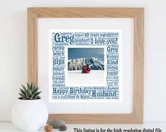 Personalised BOYFRIEND GIFT - Husband Gift - Fiancé Gift - Word Art - Printable Art - Gift for Him - Mens Gift - Anniversary Gifts