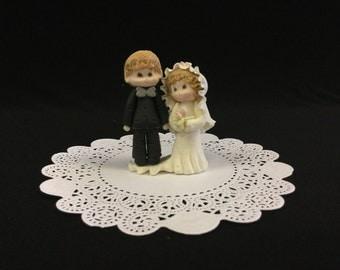Bride & Groom Cold Porcelain Cake Topper, Wedding, Bridal Shower
