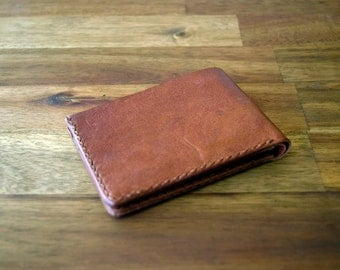 A Slim Design Kangaroo Leather Wallet - Cognac Colour. Mens Gift. Birthday Gift. Groomsman Gift. Bitcoin Accepted.