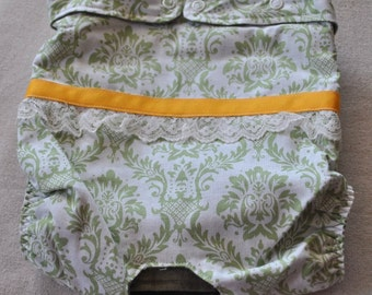 FREE SHIPPING. Dog diaper. In season diaper. Dog panty. Green Damask. XS-L
