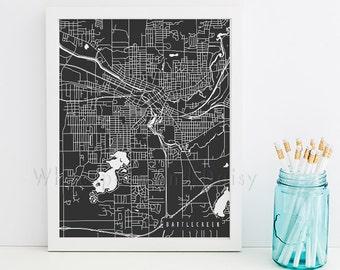 Battle Creek Map Battle Creek Art Battle Creek Map Art Battle Creek Print Battle Creek Printable Michigan Art