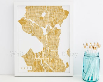 Seattle Map Seattle Art Seattle Map Art Seattle Print Seattle Printable Seattle City Art Seattle City Map Washington Art