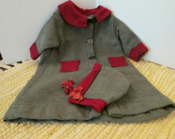 Charming late 19th Cen Wool Doll Coat and Hat