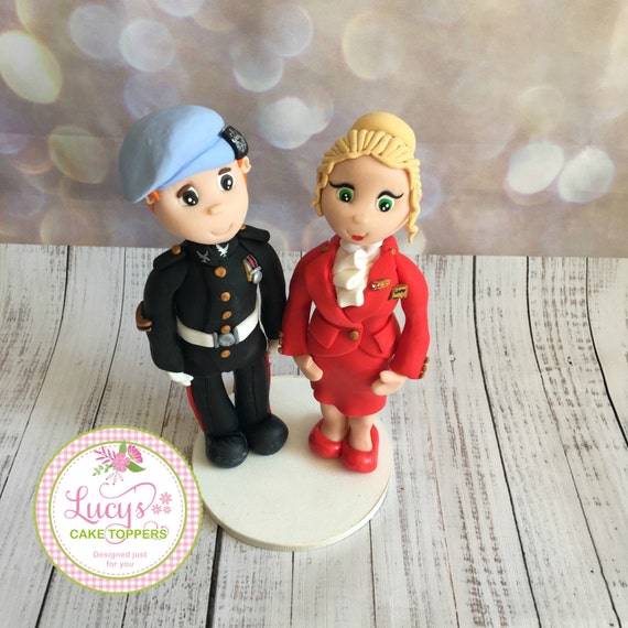 Cabin Crew/ Work Uniform Wedding cake Topper - Fully Personalised a lovely keepsake