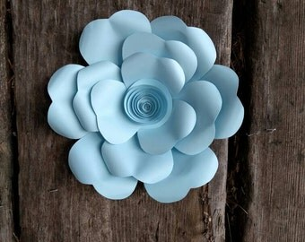 Giant Paper Flower 20cm diameter Pale Blue camellia  for wedding decor or photo booth backdrop.  In stock now. 706-053
