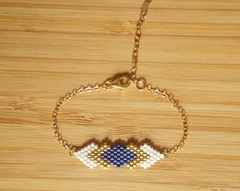 Navy Blue Gaia plate 14-Karat Gold Bracelet and glass Miyuki peyote weaving beads