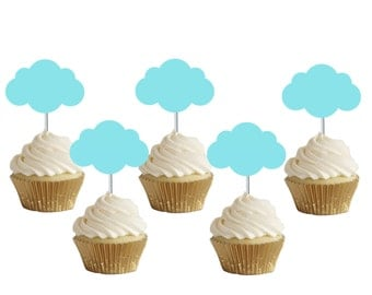 Blue clouds cupcake toppers