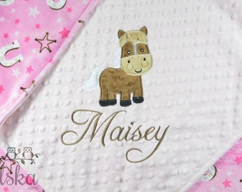 Personalized Baby Blanket, Minky Blanket, Personalized Horse Blanket,  Cowgirl Blanket, Horse Blanket, Choose your colors, Choose your size.