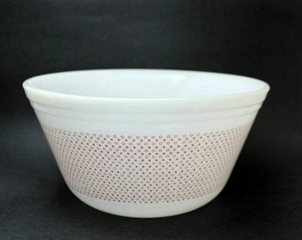 Rare Federal Glass Red Bowl, Stars and Circle Pattern
