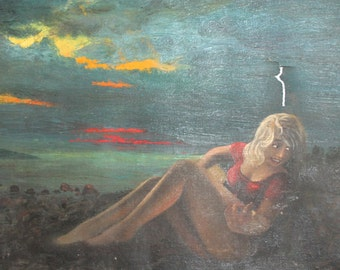 Vintage Oil Painting Girl Guitar Player