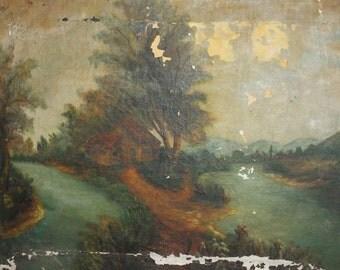 Antique oil painting landscape forest river