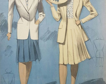 Rare Vintage  French 1940's Original Spring-Summer Fashion Card Designed by Jean Choiselat c.1947 (Printed by Giraud-Rivoire Lyon-Paris)