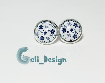 Cabochon earrings white blue floral design