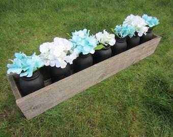 Long rustic wedding centerpiece box, long centerpiece box, rustic wedding box, wedding box, wood centerpiece box, long wood centerpiece, box