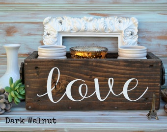 LOVE, hand painted reclaimed wood box centerpiece/ Wedding/ Home decor /planter/ crate