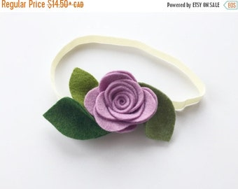 Purple Rose headband, summer flower headband or alligator clip, purple