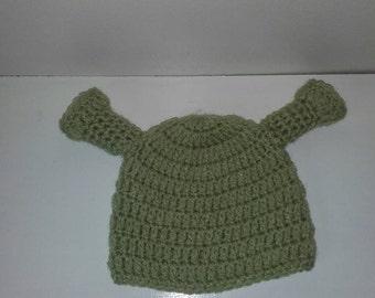 Toddler shrek hat, Crochet shrek hat, baby shrek hat, newborn shrek hat, shrek hat, ready to ship