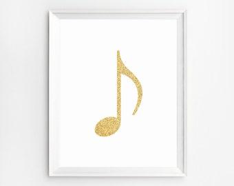 Music Note Wall Art, Music Note Print, Music Art Print, Music Wall Art, Music Print, Music Print, Music Wall Art Prints, Gold Foil Print