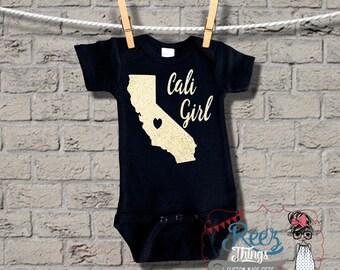 black onesie, Cali Girl Romper, bodysuit, creeper, girl, cali, infant, baby, onesie, shirt