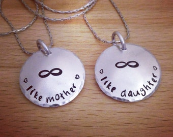 mother daughter, mother daughter necklace, matching, set, statement necklace, gifts for mum from daughter, mothers gift, infinity necklace
