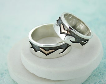 Man or Woman's Personalised Seaside Themed Silver Ring with Gold Seagull