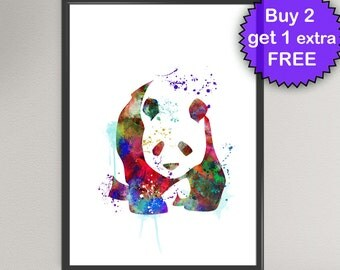 PANDA Watercolor Art Print Animal Ink Painting Panda Bear illustrations Art Print Wall Art Poster Giclée Wall Decor Art Home (Nº1)