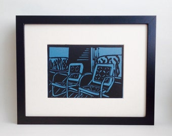 "Porch Chairs handmade linocut print 5x7"", unframed (lake blue) - home decor, birthday gift, wedding gift, anniversary, printmaking"