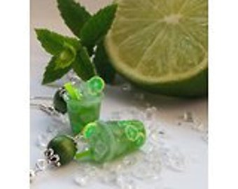 Earrings mojito - Couleur-lavande polymer clay jewelry