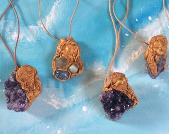 Raw Amethyst half owl half goddess pendent on leather necklace hippie boho bohemian