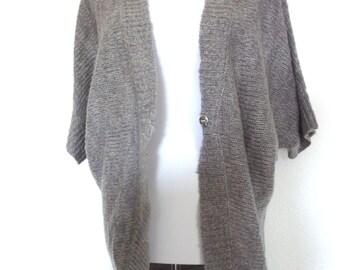Womens Cardigan Batsleeve Jacket Sweater grey