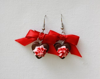 "Earrings ""Chocolate heart"""