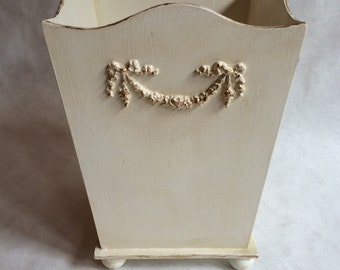 waste basket, shabby chic trash can, hand painted waste basket