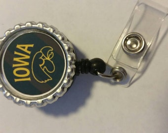 Iowa hawkeyes  bottlecap id badge reel