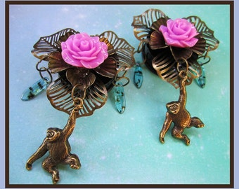 "Monkey in the Rose Tree EAR PLUGS dangle earrings pick gauge - 1/2"", 9/16"", 5/8"", 11/16"", 7/8"", 1"", 1 1/16"" aka 12, 14, 16, 18, 22, 25, 28mm"