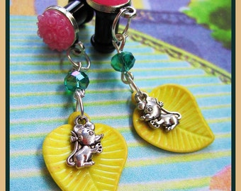 "The Sneaky Mouse and his Leaf stretched dangle earrings EAR PLUGS you pick the gauge size 6g, 4g, 2g, 0g, 7/16"" aka 4mm, 5mm, 6mm, 8mm"
