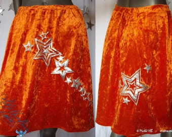skirt, orange velvet and silver vinyl, festivals of stars, seventies evening, peace and love, psychedelic night party, theater show